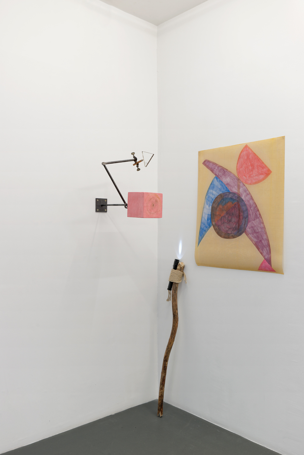 , 2014, 4 elements (Plaster, acrylic, varnish and metal; Metal, silver and glass; Wood, string and torch lamp; Acrylic and oil on paper), Variable dimension, , unique artwork, Photo: Aurélien Mole