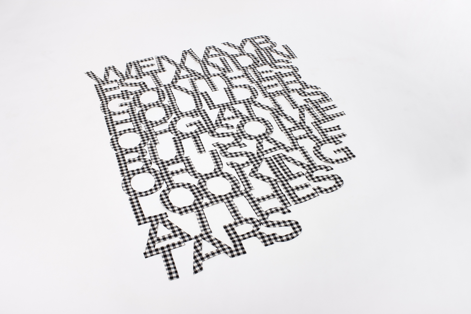 , 2007, Laser-cut fabric (black and white gingham), 140 x 112 cm, Edition of 3