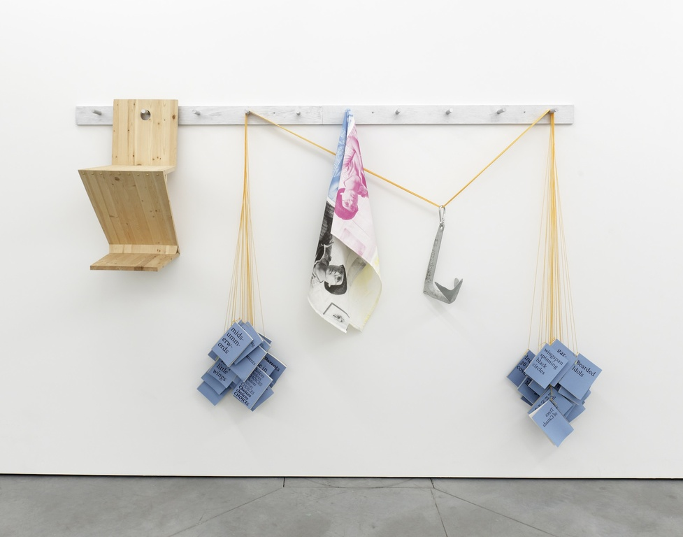 , 2012, Wood peg rail, replica Gerrit Rietveld Zig Zag Chair, 52 artist's books, nylon cord, 2kg boat anchor, printed fabric, 106 x 244 x 47 cm, Edition of 2 , installation view at Galerie Tatjana Pieters