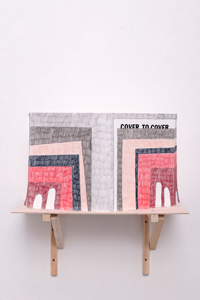 , 2014, Colored pencil and lettraset on paper + wood shelf, 23 x 53 cm (drawing) 20 x 40.5 x 25 cm (shelf), , unique artwork, photo: Aurélien Mole