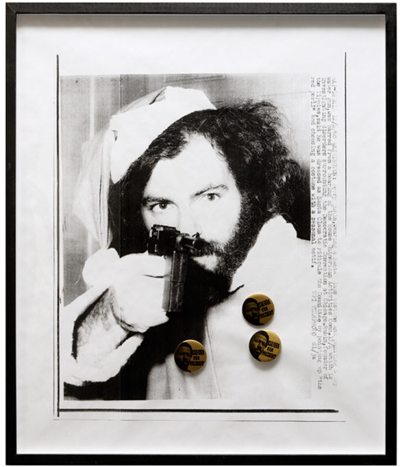 , 2011, Photocopy and 3 original politcal pins (1968), 60 x 50 cm, Edition of 8  + 1 AP, photo: Aurélien Mole