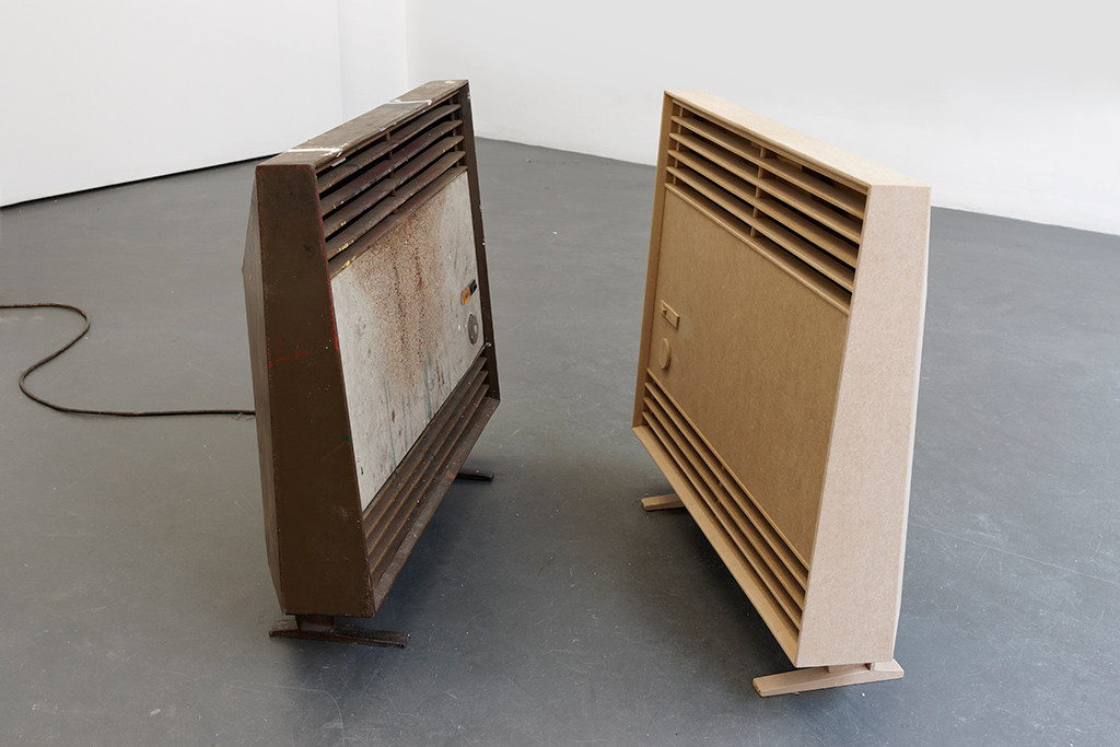 , 2013, Fábrica de Plásticos Simala's heater and MDF model, 57 x 61 x 16.5 cm x 2, , unique artwork, photo: Aurélien Mole