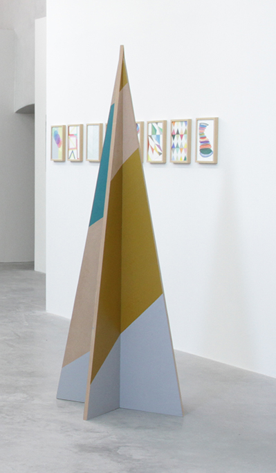 , 2013, from the serie Buisson et Pointe, MDF and painting, 205 x 80 x 80 cm, , unique artwork, Photo: Eric Tabuchi, exhibition view in Le Ranch de la Liberté, les Capucins - centre d'art contempo, Collection FRAC Aquitaine, Bordeaux, France